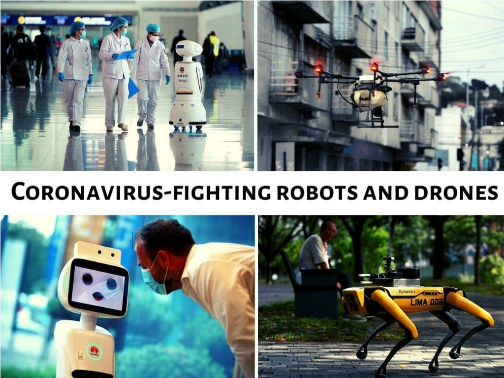 coronavirus fighting robots and drones l.