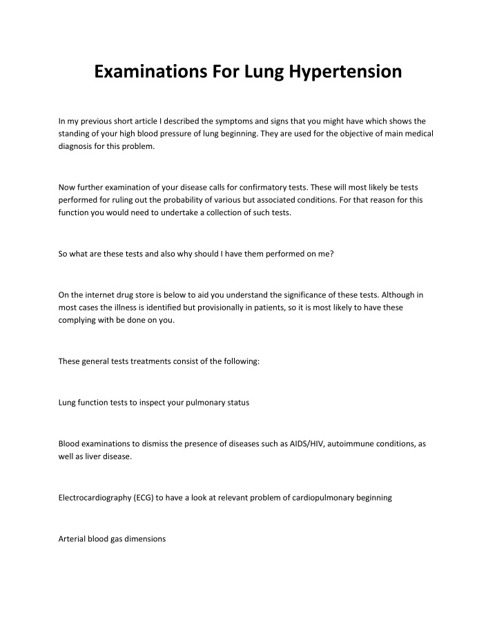 examinations for lung hypertension n.