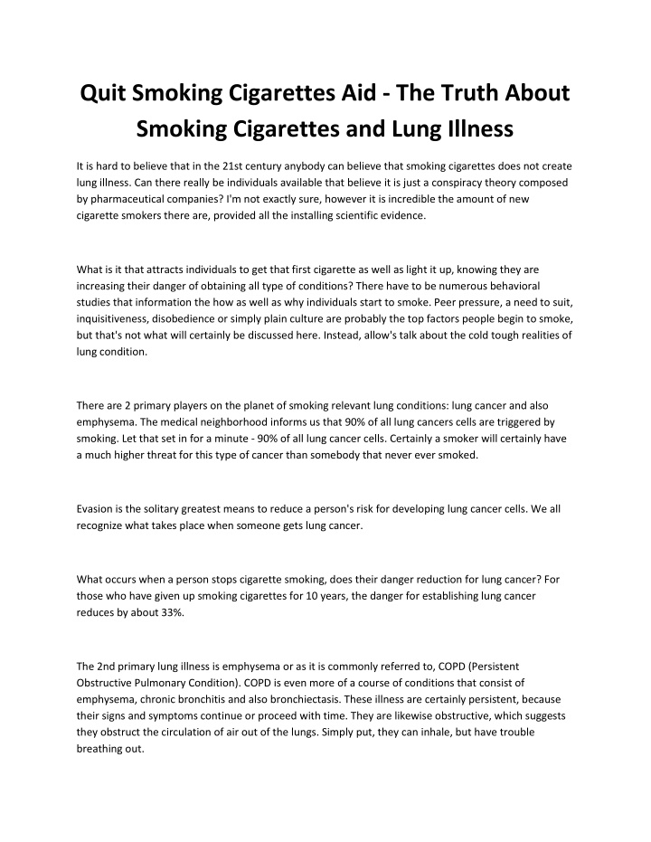 quit smoking cigarettes aid the truth about n.