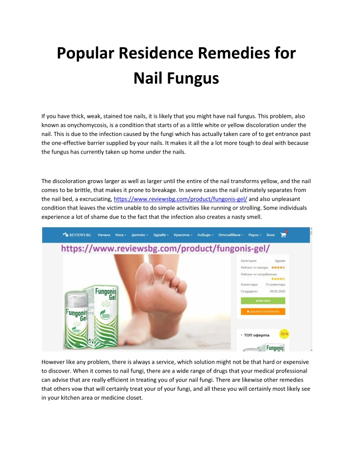popular residence remedies for nail fungus n.