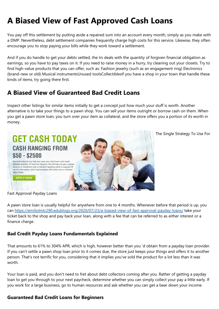 a biased view of fast approved cash loans n.