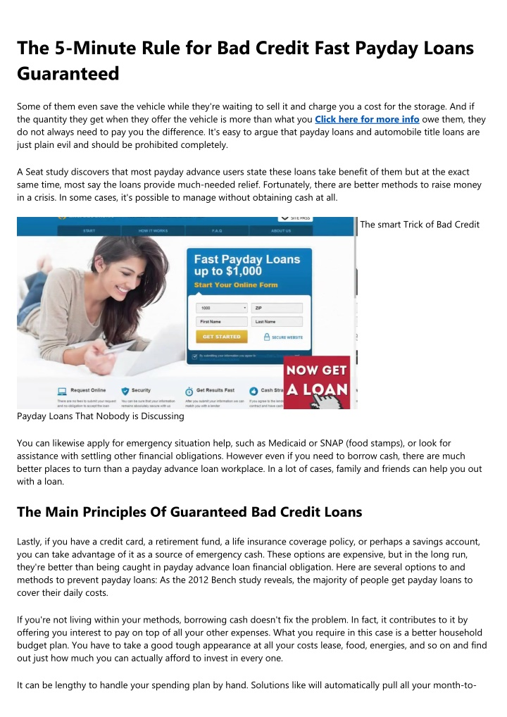 the 5 minute rule for bad credit fast payday n.