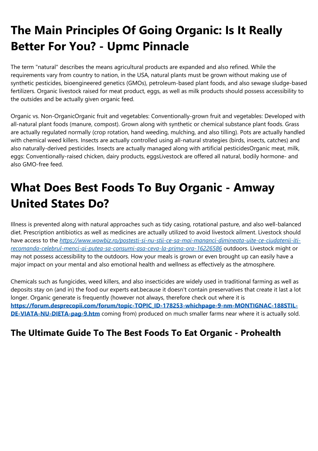 the main principles of going organic is it really l.