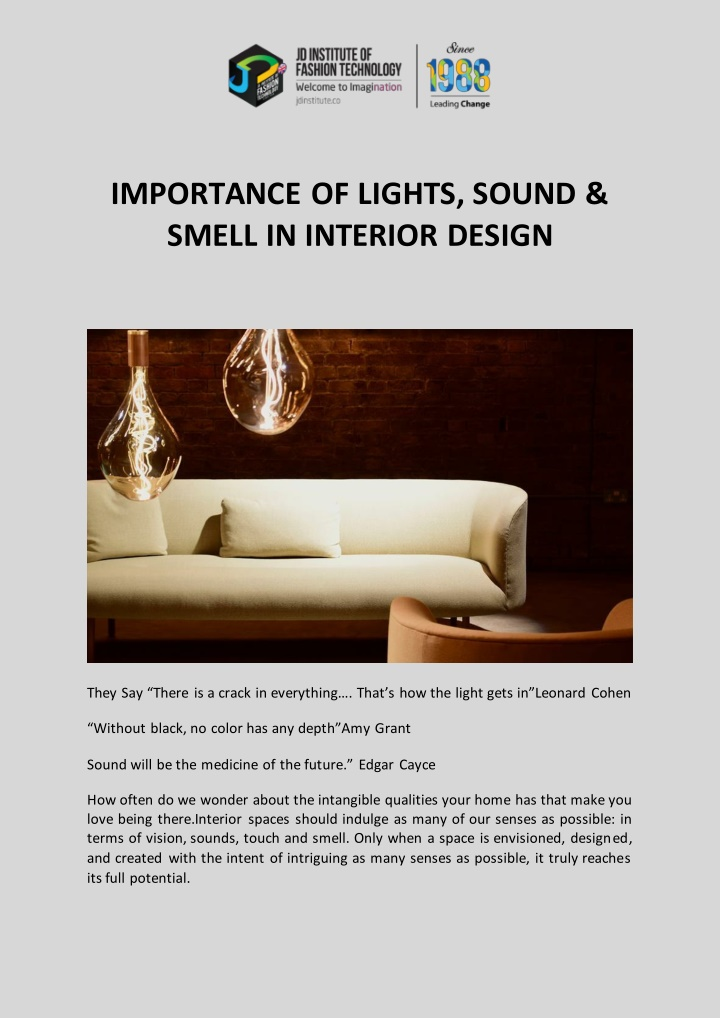 importance of lights sound smell in interior n.