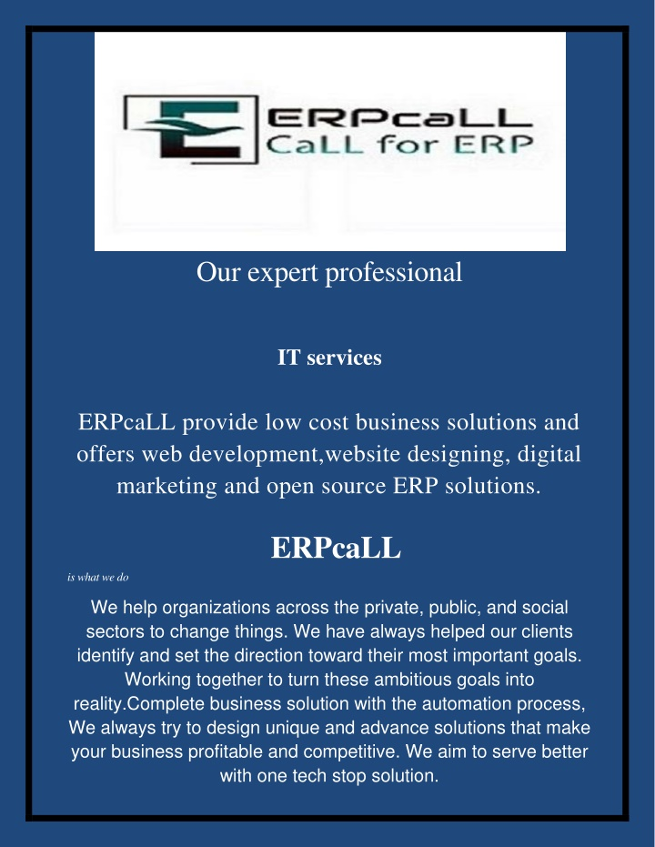 our expert professional it services erpcall n.