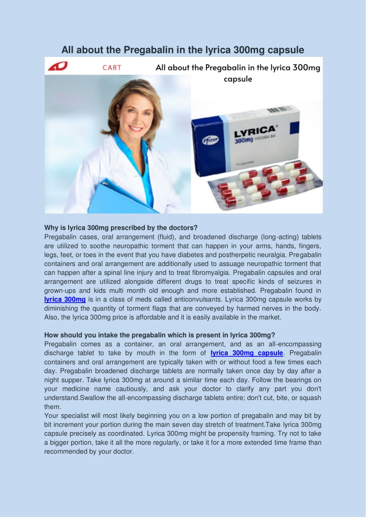 all about the pregabalin in the lyrica 300mg n.
