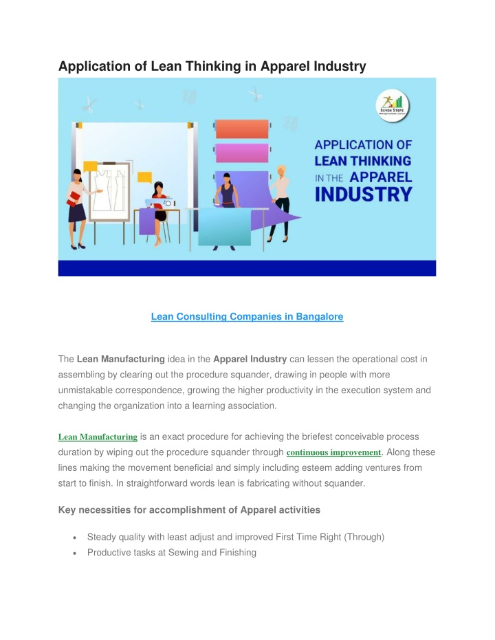 application of lean thinking in apparel industry n.