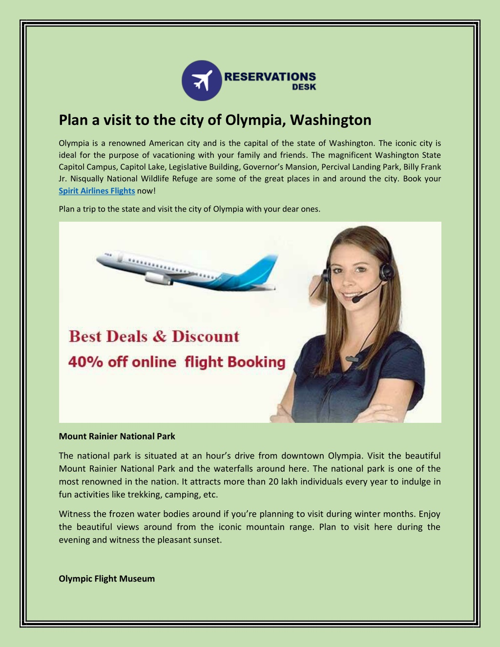 plan a visit to the city of olympia washington l.