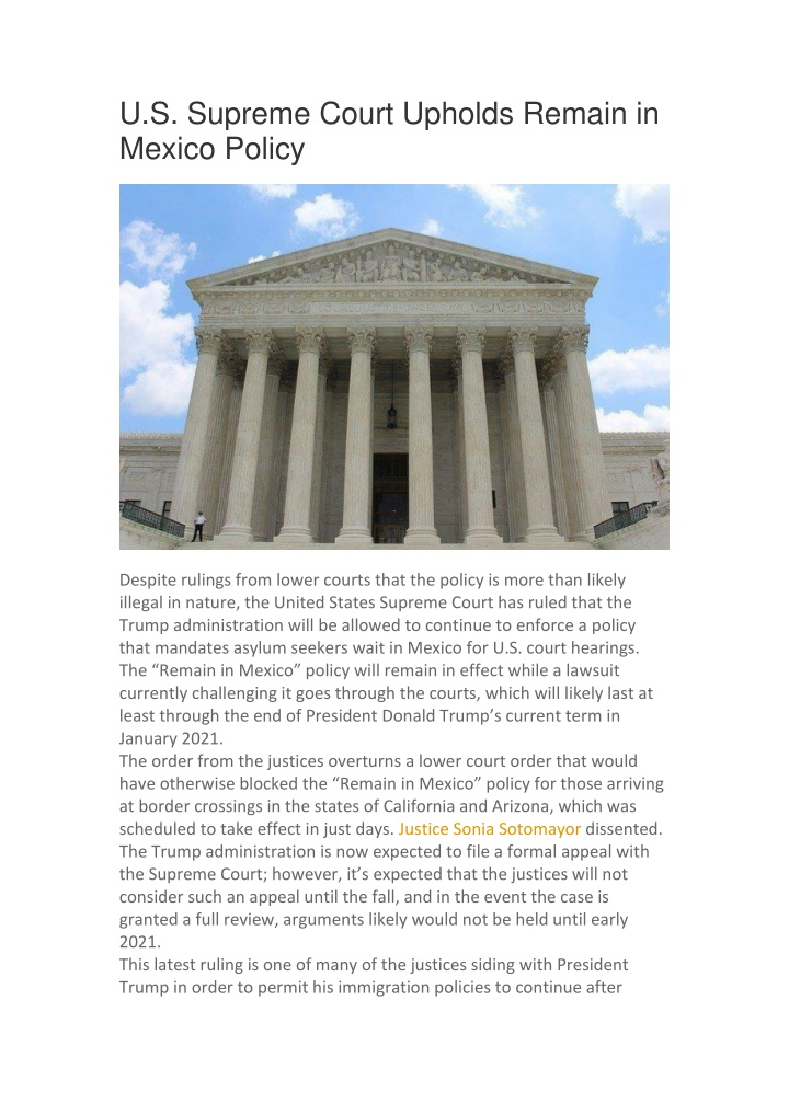 u s supreme court upholds remain in mexico policy n.