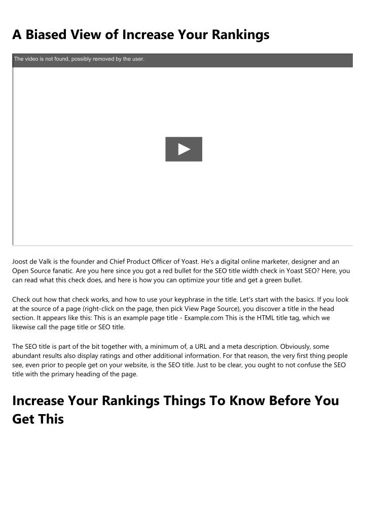 a biased view of increase your rankings n.