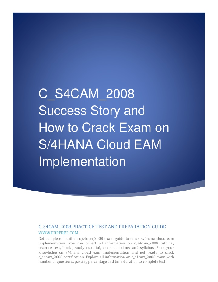 c s4cam 2008 success story and how to crack exam n.
