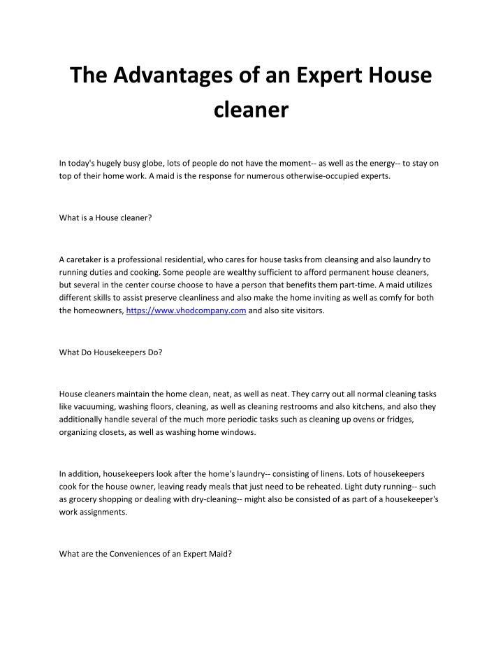 the advantages of an expert house cleaner n.