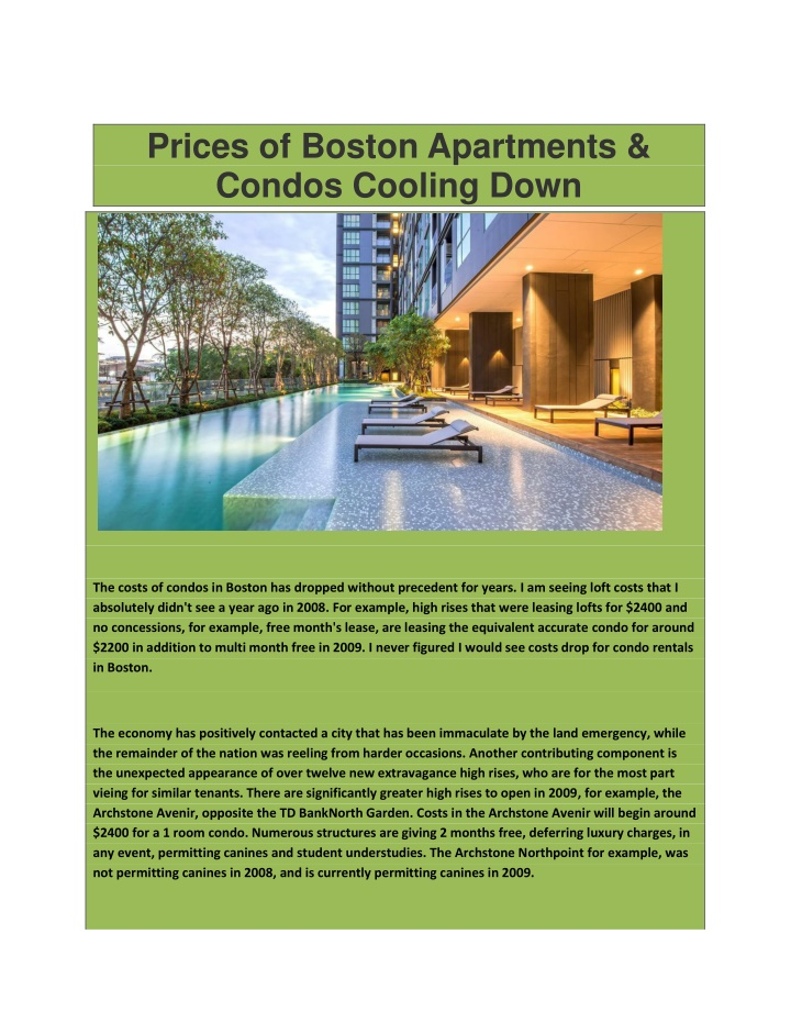 prices of boston apartments condos cooling down n.