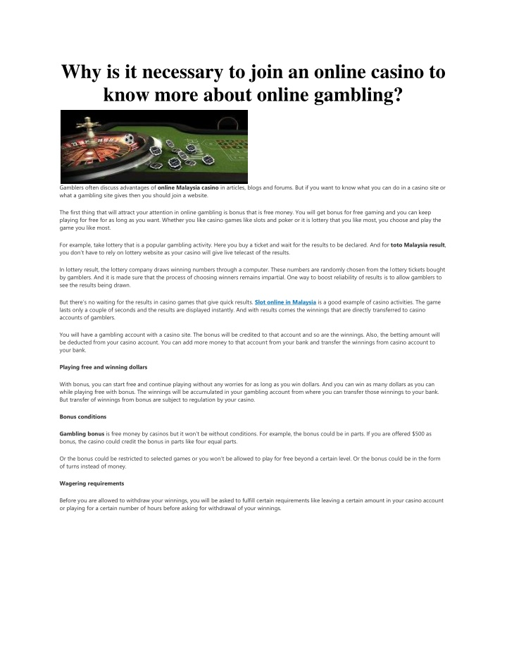 why is it necessary to join an online casino n.