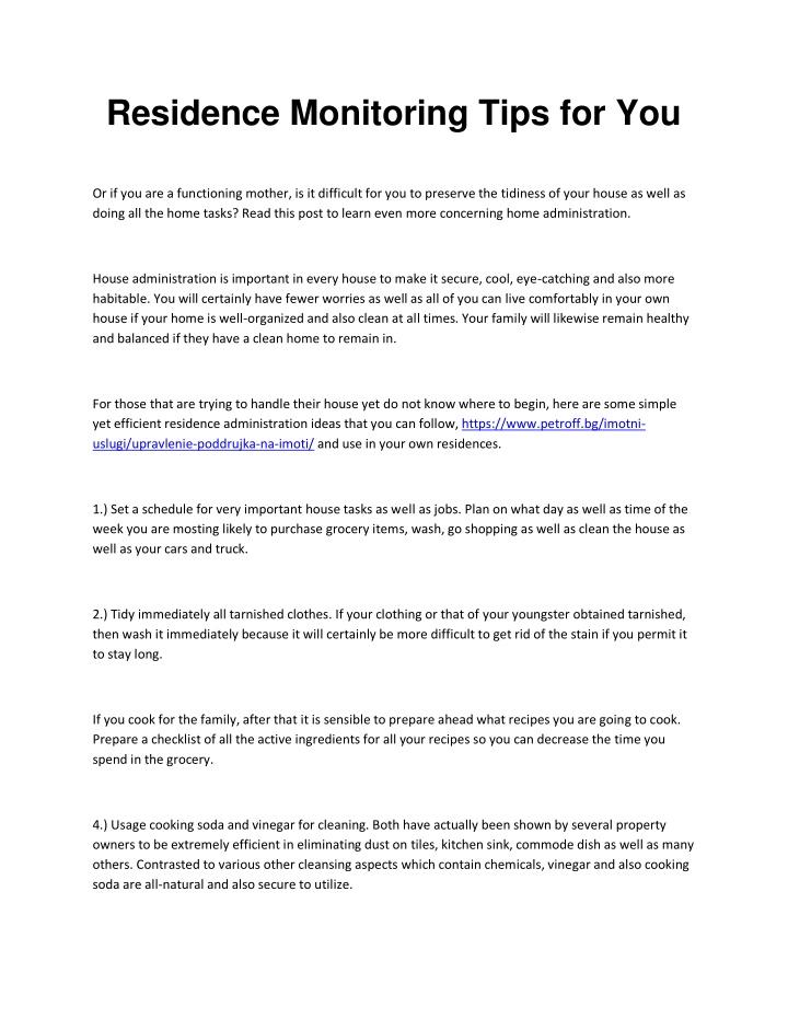 residence monitoring tips for you n.
