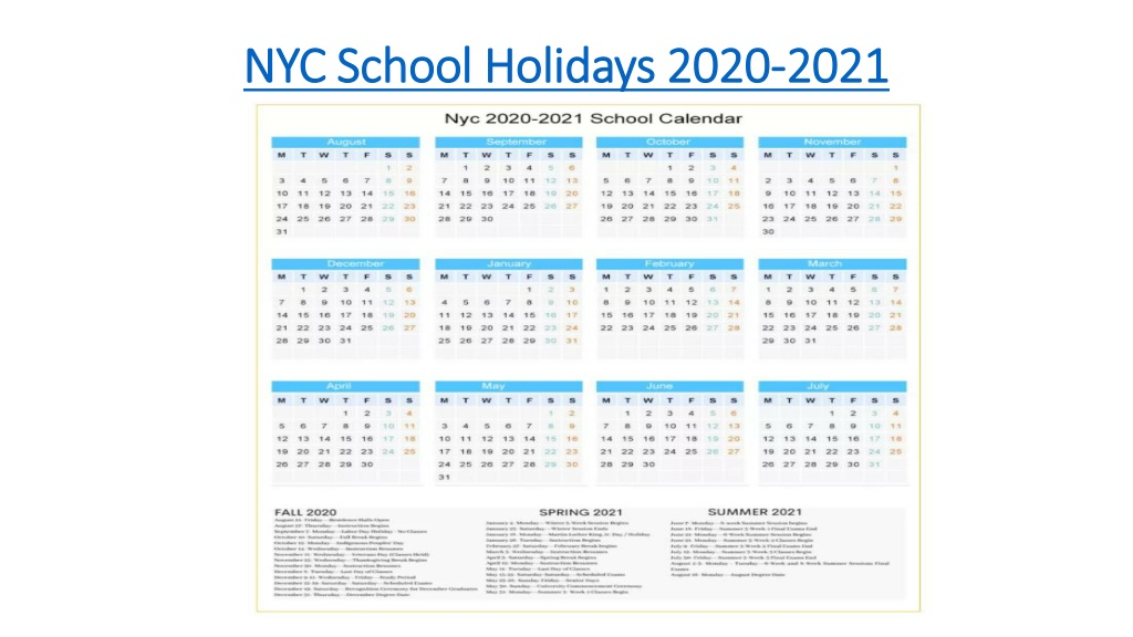 PPT - NYC school holidays calendar 2020-21 PowerPoint ...