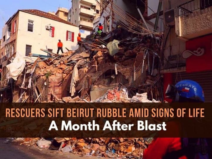 rescuers sift beirut rubble amid signs of life a month after blast n.