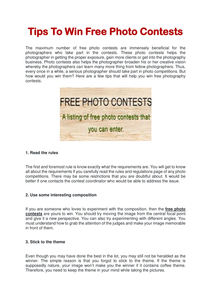 tips to win free photo contests tips to win free n.