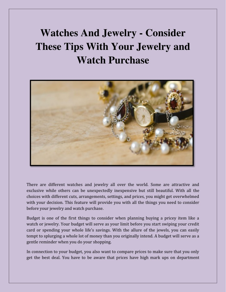 watches and jewelry consider these tips with your n.