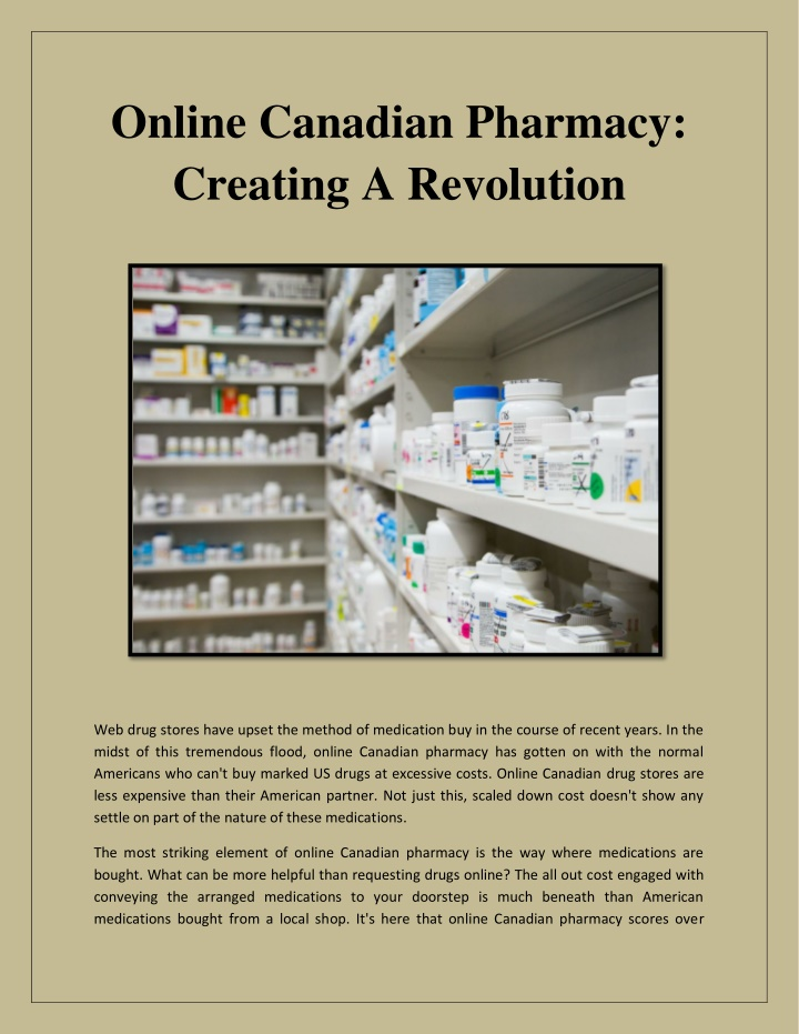online canadian pharmacy creating a revolution n.