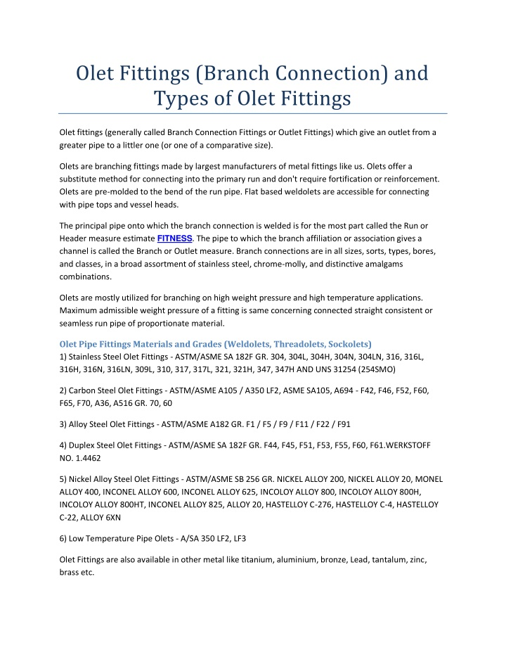 olet fittings branch connection and types of olet n.