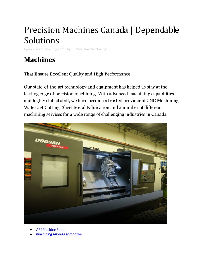 precision machines canada dependable solutions n.