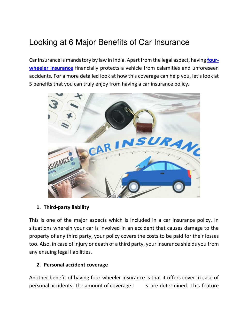 Looking at 6 Major Benefits of Car Insurance
