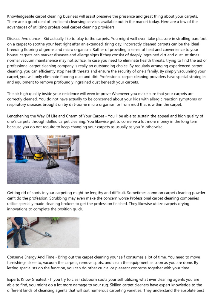 knowledgeable carpet cleaning business will n.