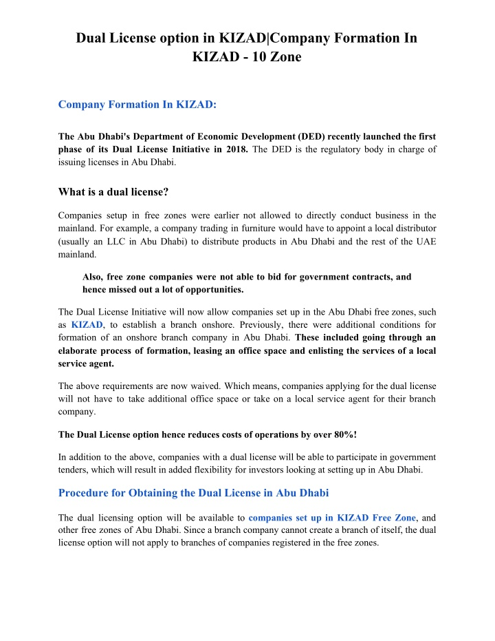 dual license option in kizad company formation n.