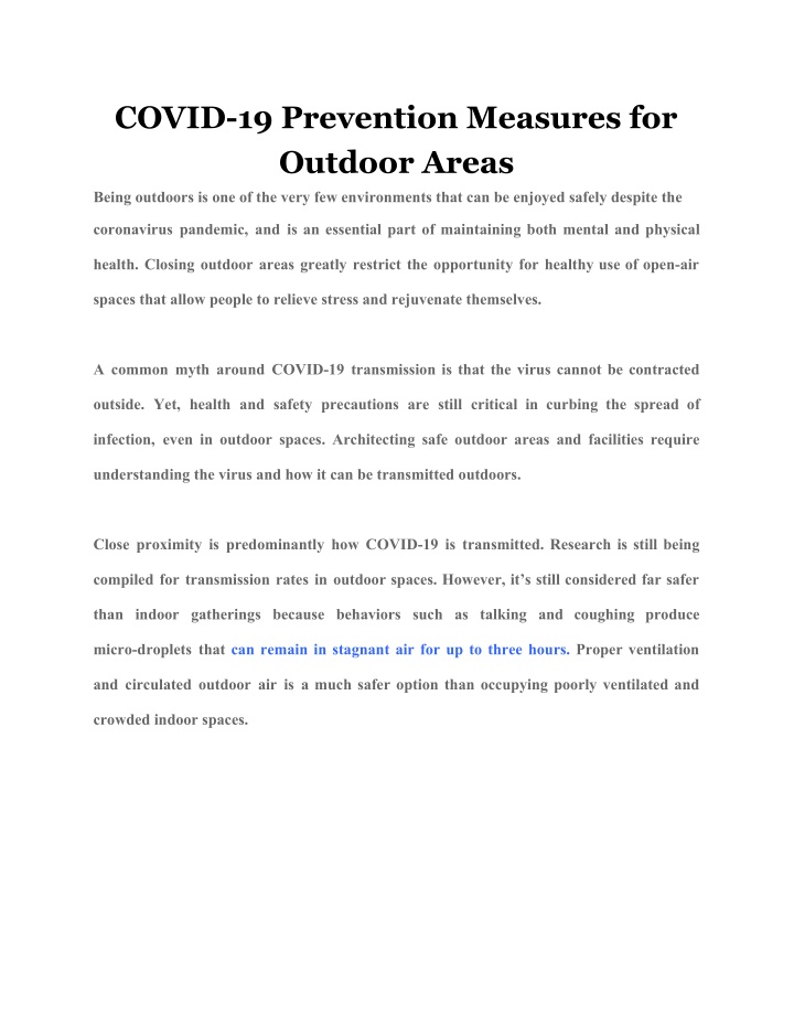 covid 19 prevention measures for outdoor areas n.