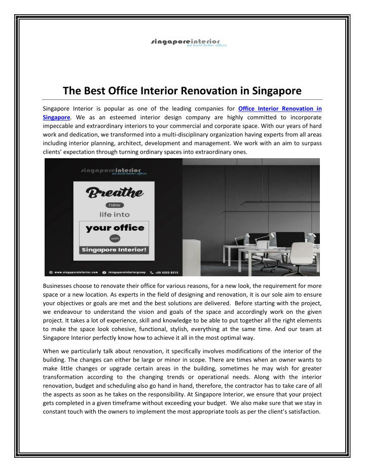 the best office interior renovation in singapore n.