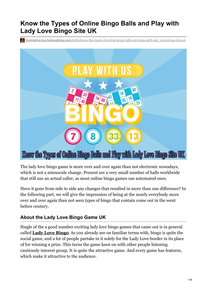know the types of online bingo balls and play n.