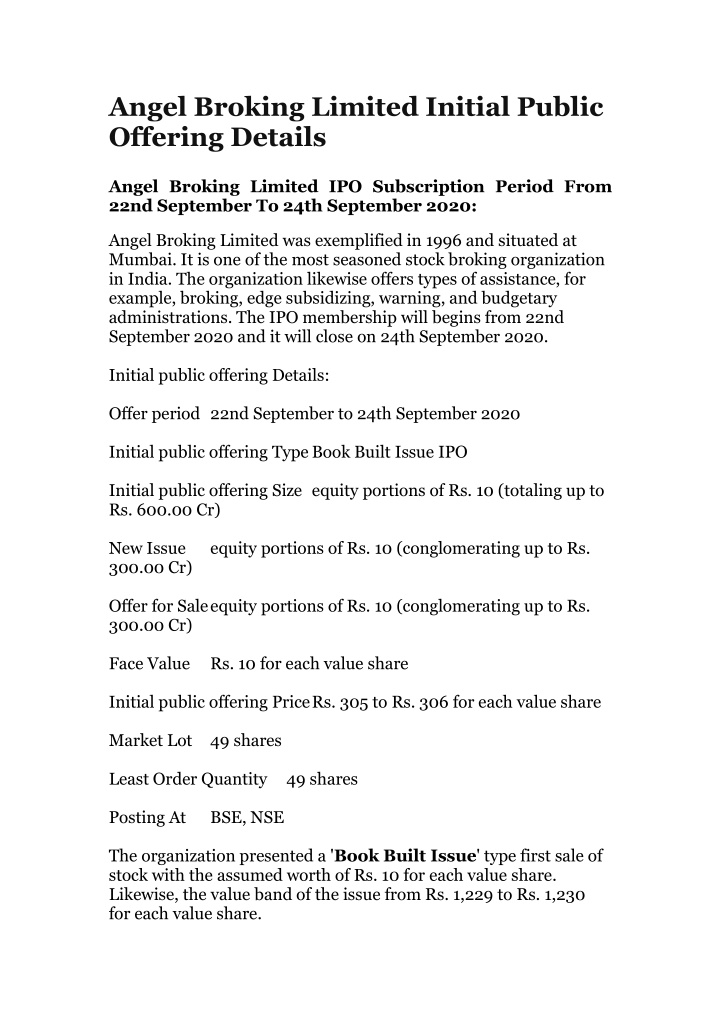 angel broking limited initial public offering n.