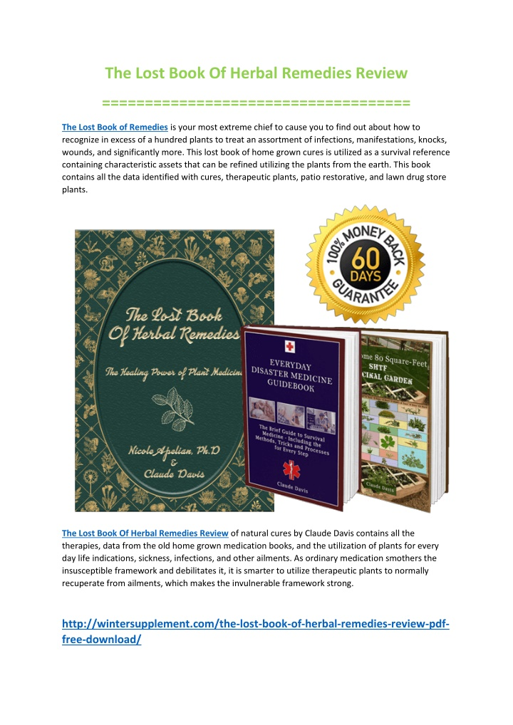 the lost book of herbal remedies review n.