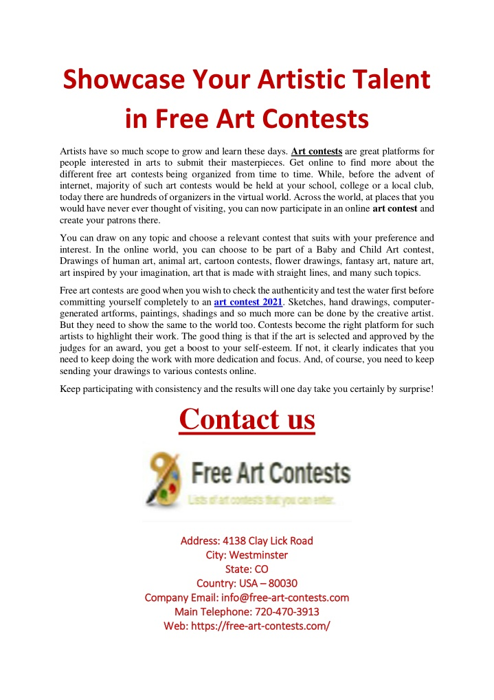 showcase your artistic talent in free art contests n.