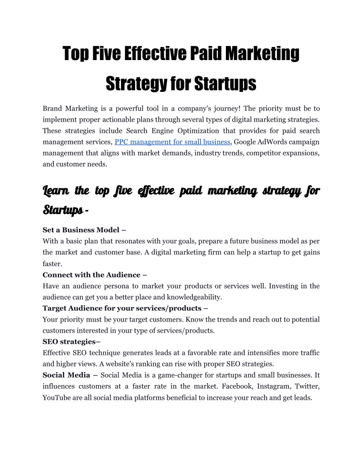top five effective paid marketing strategy n.