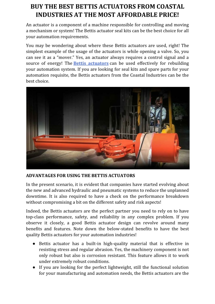 buy the best bettis actuators from coastal n.