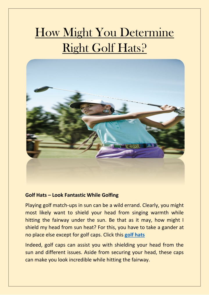 how might you determine right golf hats n.