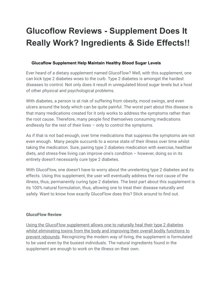 glucoflow reviews supplement does it really work n.