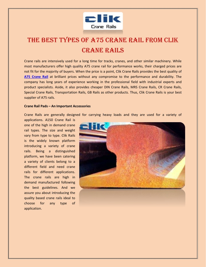 the best types of a75 crane rail from clik crane n.