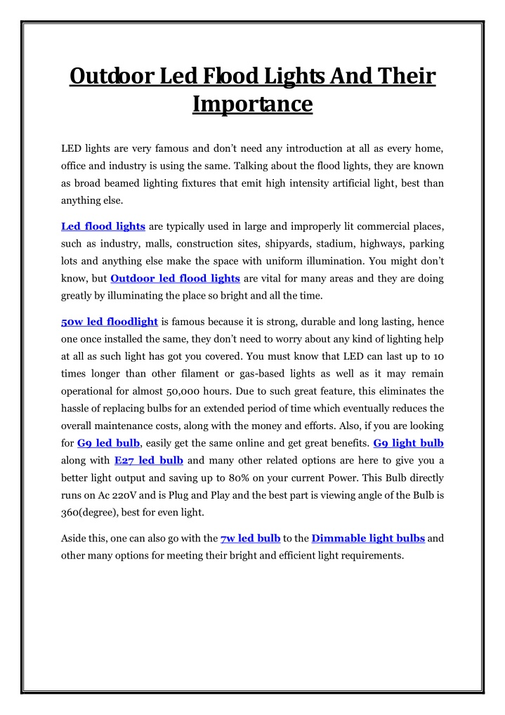 outdoor led flood lights and their importance n.
