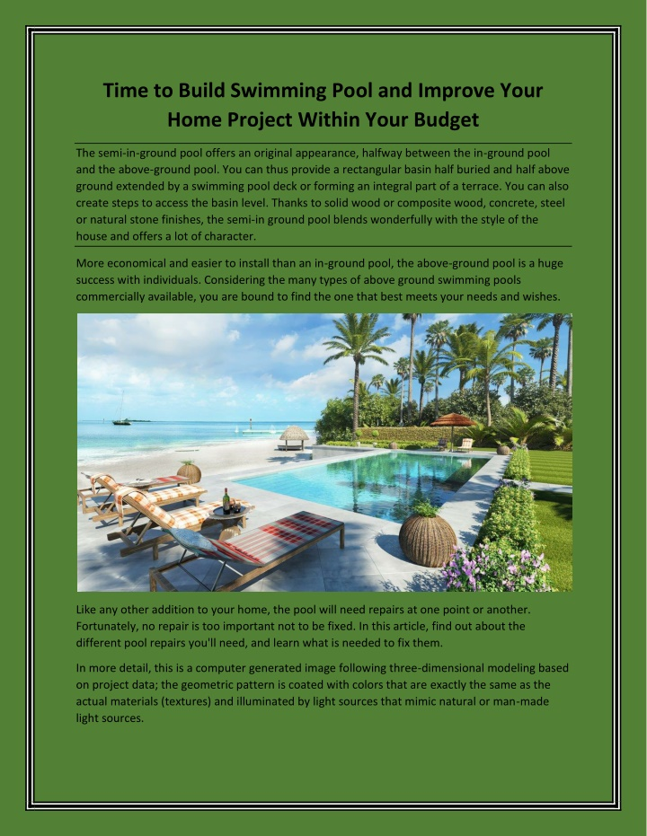 time to build swimming pool and improve your home n.