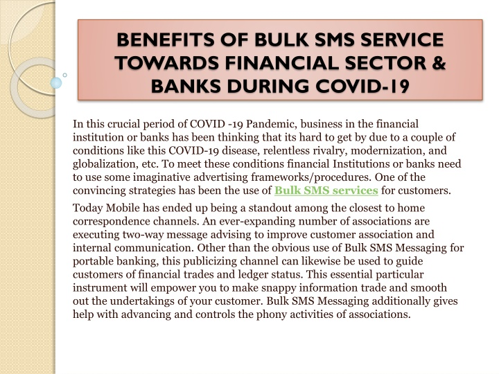 benefits of bulk sms service towards financial sector banks during covid 19 n.