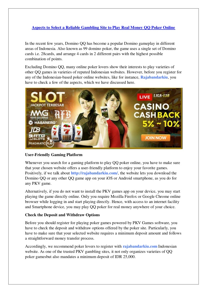 aspects to select a reliable gambling site n.