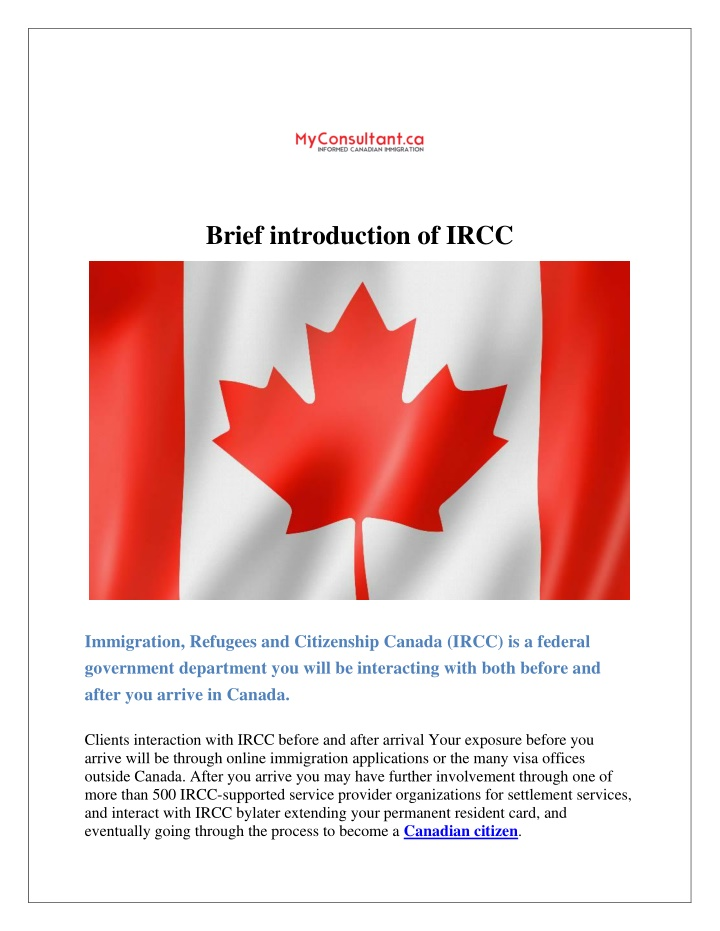 brief introduction of ircc n.