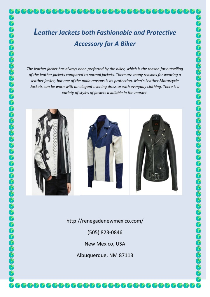 l eather jackets both fashionable and protective n.