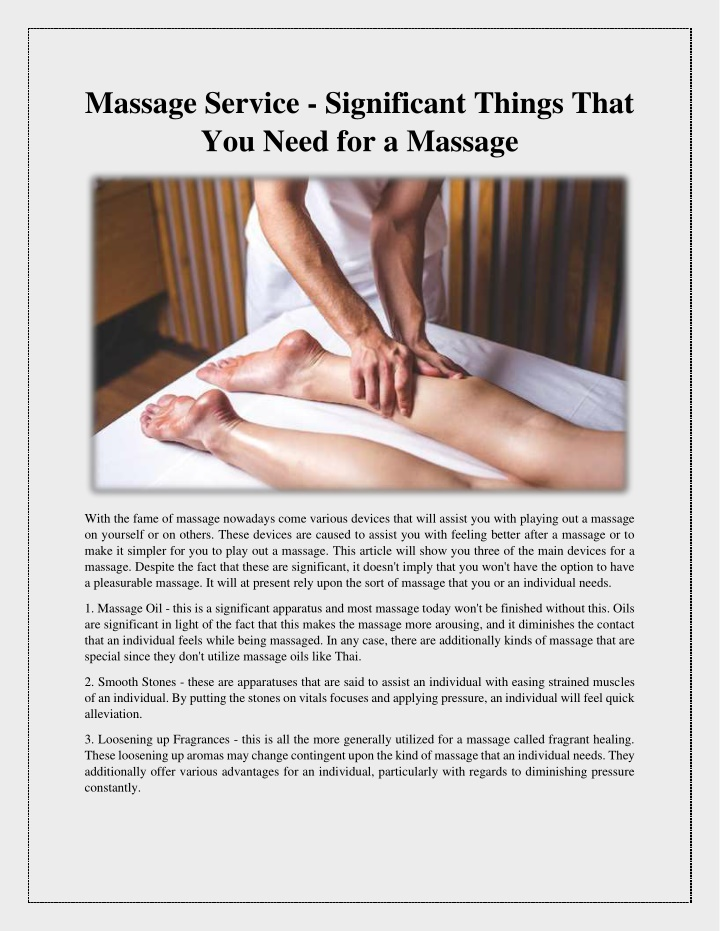 massage service significant things that you need n.