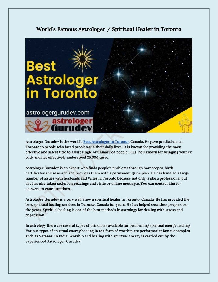 world s famous astrologer spiritual healer n.