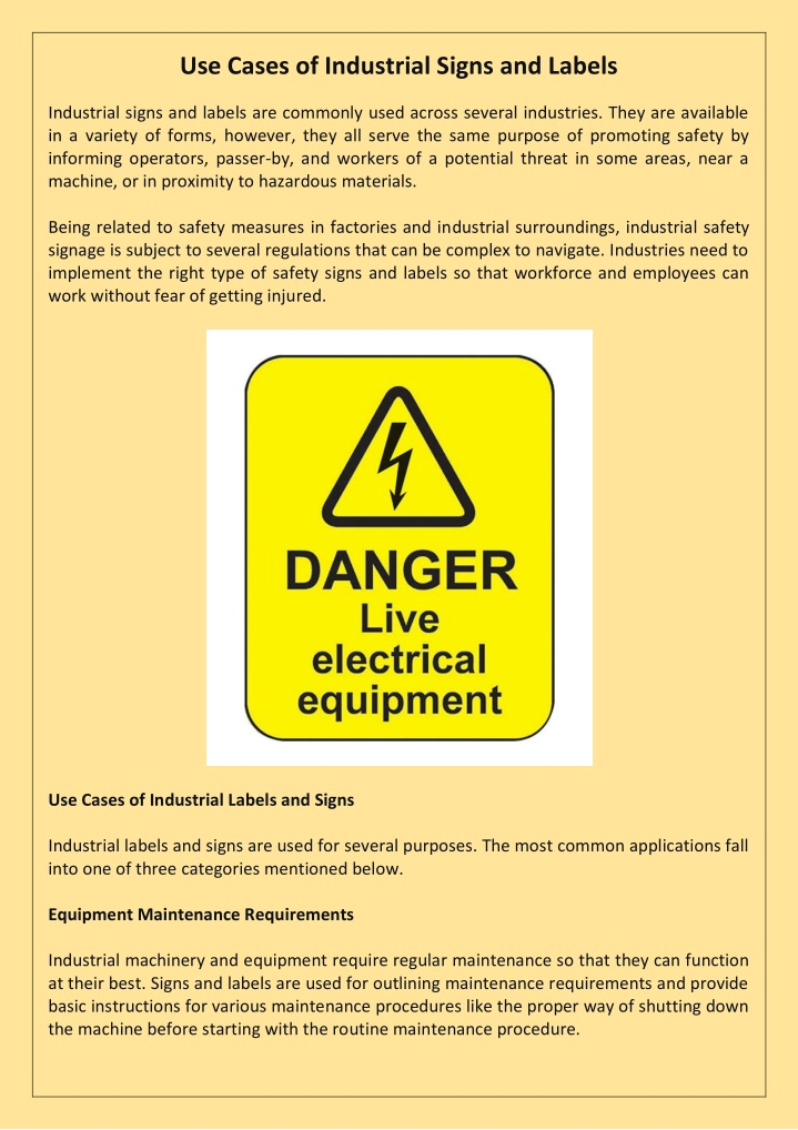 use cases of industrial signs and labels n.