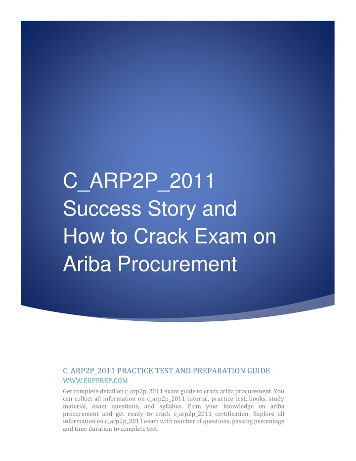 c arp2p 2011 success story and how to crack exam n.
